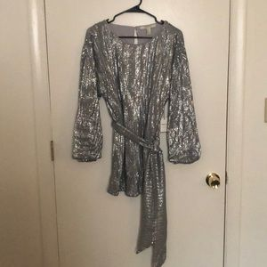 Forever 21 silver sequin dress